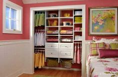 Tips for Organizing a Small Reach-in Closet Closet Organizer With Drawers, Closet Storage Systems, Closet Organization, Storage Spaces, Storage Ideas, Organizing, Diy Storage, Organization Ideas, Nursery Storage