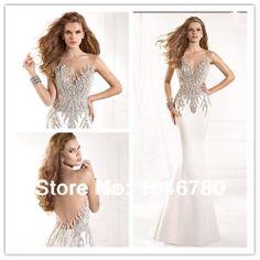 Shining  Sweetheart Sleeveless Beading Crystal Tulle Back Mermaid   Floor-Length Long t Prom Dress 2014