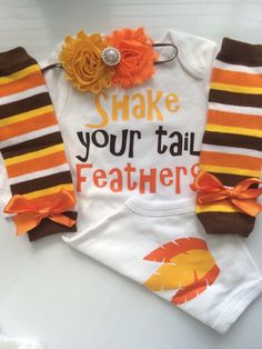 INFANT girl Thanksgiving outfit -  turkey shirt - thanksgiving legwarmers - fall baby girl outfit - newborn preemie- Shake Your Tail Feather
