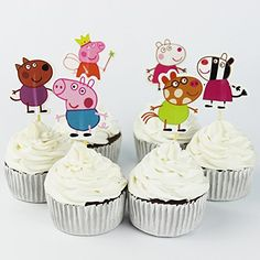 Winrase® Pack of 24 Cute Peppa Pig Kids Party Decoration Paper Cupcake Toppers (Peppa Pig)