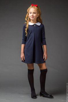 Купить Платье для девочки, школьное (129) - тёмно-синий, рюши ксюши, мари текс