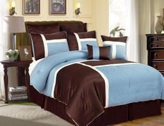 Luxury Bedding Sets Modern Comforter Set Queen King Teal Blue Brown intended for sizing 1600 X 1600 Brown And Blue Bedroom Sets - An extra room is a room Twin Bed Comforter Sets, Modern Comforter Sets, Dorm Bedding Sets, Blue Bedding Sets, Bedding Sets Online, Queen Bedding Sets, Luxury Bedding Sets, Blue Comforter, Bed Sets
