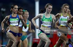 Ciara Mageean of Ireland and Shannon Rowbury of the United States compete in the Women's 1500 meter semifinals on Day 9 of the Rio 2016 Olympic Games at the Olympic Stadium on August 14, 2016 in Rio de Janeiro, Brazil.