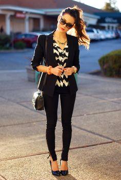 BCBG jacket, Francescas blouse, pants and jewelry, DailyLook bag, Steve Madden heels xoxo