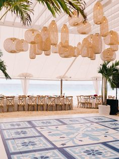 Rattan lanterns and something blue dancefloor reception at The Ocean View Club i.