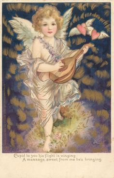 CUPID TO YOU HIS FLIGHT IS WINGING A MESSAGE SWEET FROM ME HE'S BRINGING Victorian Valentines, Vintage Valentine Cards, Victorian Christmas, Vintage Greeting Cards, Funny Valentine, Love Valentines, Vintage Postcards, Vintage Images, I Believe In Angels