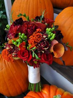 Beautiful Fall Wedding Bouquet, love the colors!