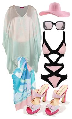 """""""Pretty in Pink at the Beach"""" by rinas-boutique ❤ liked on Polyvore"""