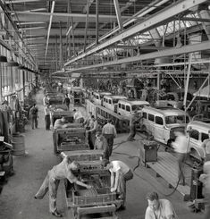 """August 1942. """"Detroit (vicinity). Chrysler Corporation Dodge truck plant. Hundreds of deft operations are required to assemble and finish the long lines of Dodge Army truck bodies that move daily to final production lines."""" Just one of the thousands of production lines that spelled doom for the Axis. Medium-format negative by Arthur Siegel, Office of War Information. - From Shorpy.com"""