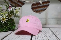 Vintage AVOCADO Baseball Cap Low Profile Dad Hats Baseball Hat Embroidery Pink by TheHatConnection on Etsy https://www.etsy.com/listing/286267077/vintage-avocado-baseball-cap-low-profile