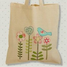 Bird & Flower Embroidery and Applique Tote Bag Kit