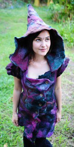 Felt Melted Mini Witches Dress With Pixie Hood OOAK by frixiegirl, $483.00