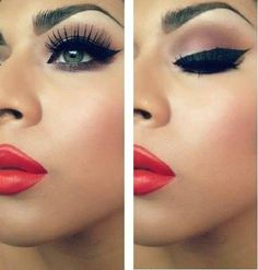 Cat eyes and red lips