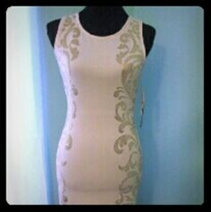 Gorgeous Summer dress with applications Cream and golden details on the side. Open in back Dresses Midi
