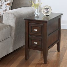 Ashley Furniture Signature Design - Larimer Chair Side End Table - 2 Drawer - Rectangular - Dark Brown - Exactly what I was needing.This Signature Design by Ash Furniture, Table Furniture, Sectional Sofa With Recliner, Ashley Furniture, Coffee Table Furniture, Chair Side Table, End Tables, Dark Brown Chair, Living Room Table