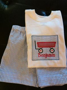 Monogrammed personalized Boys wagon applique shirt shorts set, seersucker blue