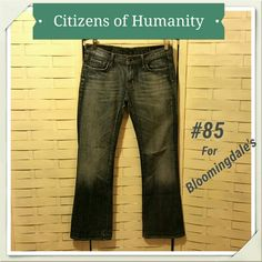 JUST IN!!! CoH Kelly 85 for Bloomingdale's Rugged awesome looking jeans! Wear on back heel, not very noticeable. Also inseam has been taken up but original hem was left. Inseam 30 inches Citizens of Humanity Jeans