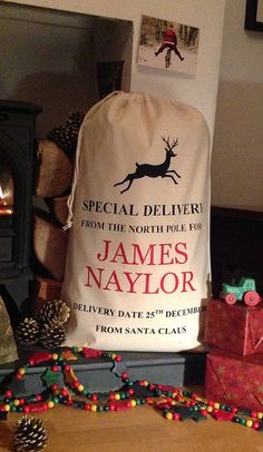 Personalised Christmas Sack Cotton Reindeer par silverbobbin, £15.00