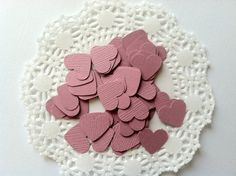 50 Vintage Pink Hearts.  5/8 inch across.  by PaperTrailbyLauraB, $3.00