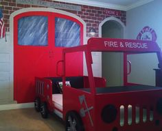 Dad is a Fireman! Little Luke has a new fire truck bed, so I painted a mural to look like his own, brick fire station.
