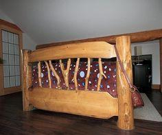Custom built log bed frame | Built by Artisan Log Homes