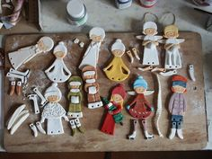 Salt Dough Dolls. Could do this with angels using jewellery rings to attach different pieces? Or hanging ornaments/garlands?