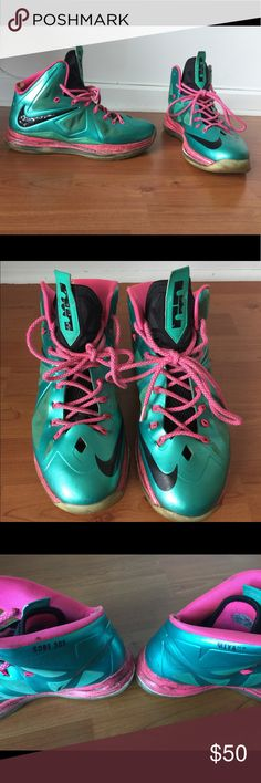 Miami Nike ID Lebron James sneakers Lebron 10's Authentic Nike ID created at the Nike store in NYC on 5th avenue. Which has now been discontinued. Lebron's 10's M- I - Ya-Yo (Miami) Sobe (South Beach) 305 sneakers in a men's size 10. Lebron James. Shows signs of wear. Some cracking. Good for basket ball. Nike Shoes Sneakers