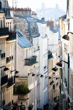 The romantic streets of Montmartre - soft blue and grey tones Paris, France - Paris Photography