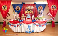Backdrop and cake/candy table for a Popeye themed 1st birthday party. Design and setup by ParteeBoo - The Party Designers Baby First Birthday, 3rd Birthday Parties, Birthday Bash, Birthday Party Decorations, 1st Birthdays, Backdrop Decorations, 1 An, Nautical Party, Disney Cakes