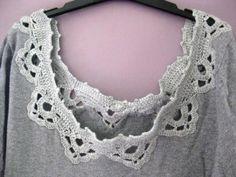 Remplacer l'encolure d'un tee-shirt par une bordure au crochet.