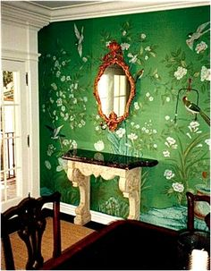 Classic wallpaper dining via Mrs. B...