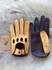 Men's Driving Leather Gloves Deerskin Car Gloves Black Beige Brown Tan