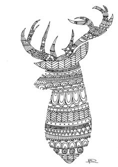 Deer zentangle colouring page from creachick