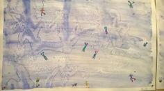 Suola-akvarelli.Aluksi laveerasimme pohjan sinertäväksi. Päälle ripoteltiin suolaa. Kuivumisen jälkeen piirrettiin puuväreillä hahmoja maisemaan. Tuli sekä maanpäällisiä että vedenalaisia. (Kaija Sälevä, FB/Alakoulun aarreaitta)