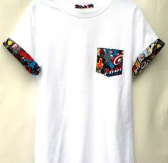 """Captain America Pocket Roll-up T-Shirt, Avengers T-shirt, Super Hero Pocket and Roll-up Sleeves T-shirt, Captain America Tee Custom Handmade Marvel Comic Patched Pocket Roll-up T-shirt Made with premium Cotton Heritage T-shirt. We have Children and Youth T-shirts as well. Please send us a message! Sizes Measurements: Standard Adult Sizes S - Width: 18"""" / Length: 28"""" M - Width: 20"""" / Length: 29"""" L – Width: 22"""" / Length: 30"""" XL – Width: 24"""" / Length: 31"""" 2XL – Width: 26""""... t-shirt nfl"""