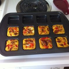 Paleo Omlet muffins with a Pampered Chef perfect portion pan! Great to make on Sunday and have breakfast ready for the week!