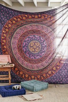 Large Hippie Tapestry, Hippy Mandala Bohemian Tapestries, Indian Dorm Decor, Psychedelic Tapestry Wall Hanging Ethnic Decorative Urban Tapestry (90x90 inches) (Multi Color)