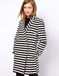 Image 1 ofASOS Stripe Ovoid Coat