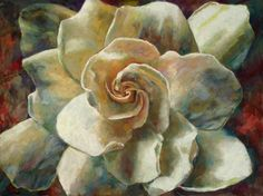 """This is one of my favorite of all my paintings, """"Gardenia"""".  Gorgeous artwork by Billie Colson a Loveland artist."""