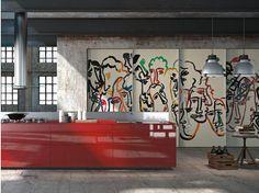 Cucina componibile in vetro decorato ARTEMATICA VITRUM ARTE - VALCUCINE