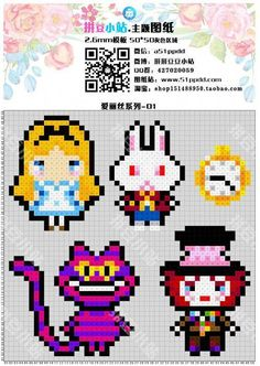 Alice in Wonderland Perler Bead Patterns Diy Perler Beads, Perler Bead Art, Pearler Beads, Pearler Bead Patterns, Perler Patterns, Loom Patterns, Art Patterns, Beaded Cross Stitch, Cross Stitch Patterns