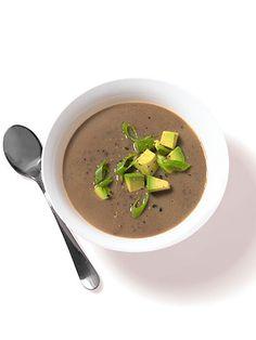 Spicy Black Bean Soup with Avocado