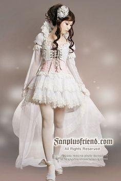 Hime Princess Lolita,Elegant Fairy,Dance Outfit*7pcs. Lady 75 White + Light Grey.  $184.80