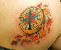"""Compass and leaves-Pocahontas, with the words """"you must choose your own path"""" on it. Best friend tat with Lex! Time Tattoos, Dog Tattoos, Leaf Tattoos, Body Art Tattoos, Sleeve Tattoos, Tatoos, Disney Tattoos Pocahontas, Compass Rose Tattoo, Custom Tattoo"""