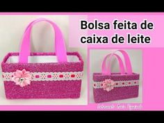 : Bolsinha feita com caixa de leite - Use como lembr. Plastic Bottle Flowers, Plastic Bottles, Art Activities For Kids, Art For Kids, Diy Crafts For Gifts, Crafts For Kids, Fiesta Mickey Mouse, Fabric Boxes, Diy Gift Box