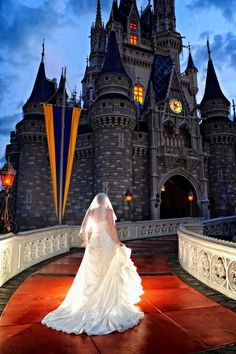 My Disney Life: Bride running up to Cinderella Castle during our wedding bridal portrait session.