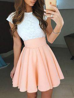 A-Line/Princess Jewel Sleeveless Lace Short/Mini Chiffon Dresses - Hebeos Online