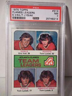 1975 Topps Atlanta Flames Team Leaders PSA NM 7 Hockey Card #313 NHL Collectible #AtlantaFlames