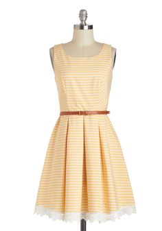 Shining Through Dress - Yellow, White, Stripes, Pleats, Belted, A-line, Spring, Cotton, Mid-length, Embroidery, Casual, Tank top (2 thick straps), Scoop, Daytime Party, Pastel