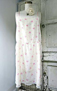 Vintage lingerie 1920s silk slip pink roses on by VanitiesFair Silk Slip 6560727ee